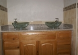 Wooden - Double vanity with vessel sinks